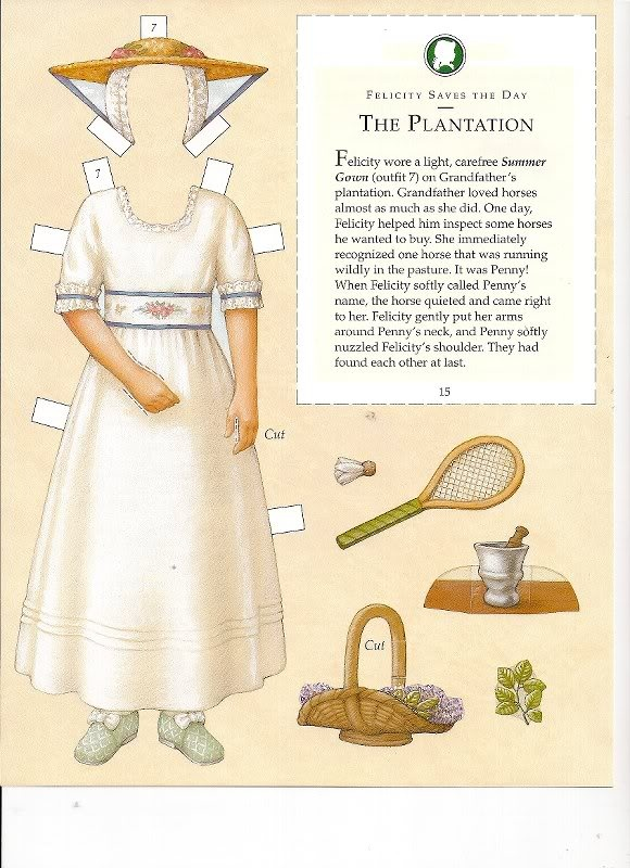 Felicity's Paper Dolls an AMERICAN GIRL by Pleasant Company Publications, 2005: Page 19 (of 30). Even pages are the backs of odds and contain description of outfit and possibly book page (1 through 20)