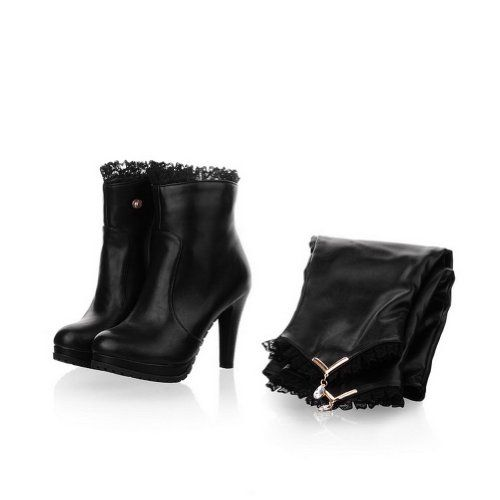 Ladies Metal Ornament Kitten-Heels Business White Plastic Boots - 6.5 B(M) US