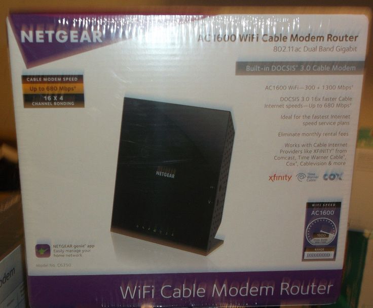 Netgear AC1600 WiFi Cable Modem Router Model C6250-100NAS BRAND NEW
