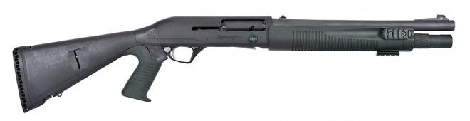 Remington R12 with 14.5″ Stock, Mesa Tactical Stock, Low Profile Open Sights