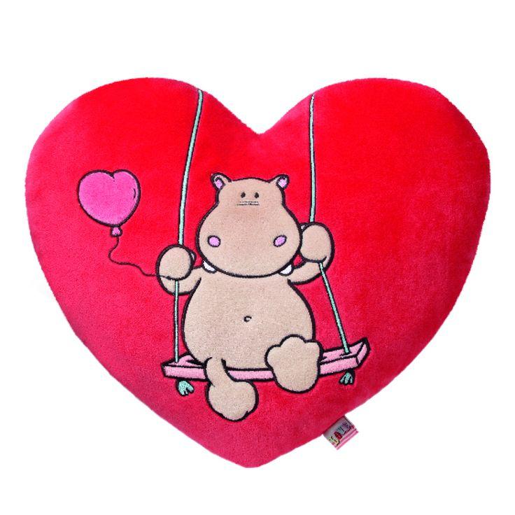 NICI Love Hippo Heart Shaped Cushion 40x36cm