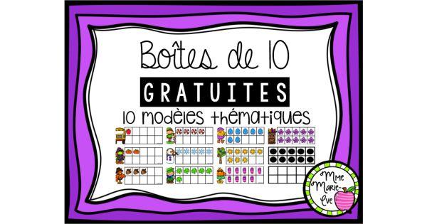 Boîtes de 10 gratuites 11 modèles de boîtes vierges en noir et blanc 10 modèles de boîtes de 0 à 10 en couleur 1 modèle de boîtes de 0 à 10 en noir et blanc ********************************************* Droits d'auteurs Ce