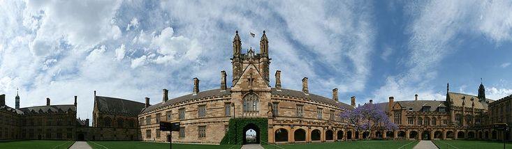 The Main Quadrangle buildings in panorama.  University of Sydney