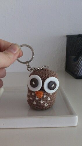 Owl pill keychain for my mom. The owls head comes off and inside is a small canister from a kinderegg. so now she can always have her asprin on her.