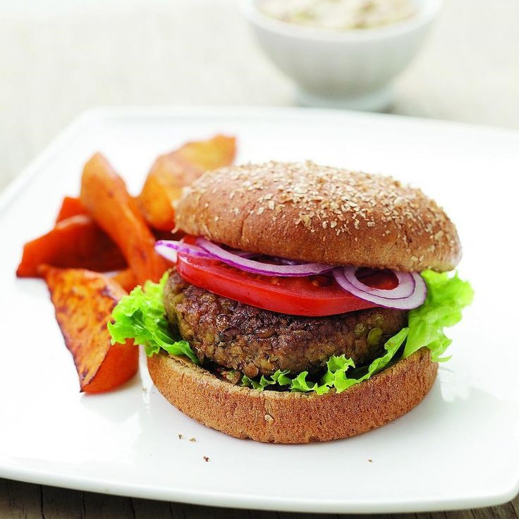 Walnuts and fresh marjoram accent these vegan lentil burgers. Substitute oregano for marjoram if you like. Serve with a smear of whole-grain mustard and roasted sweet potato wedges.