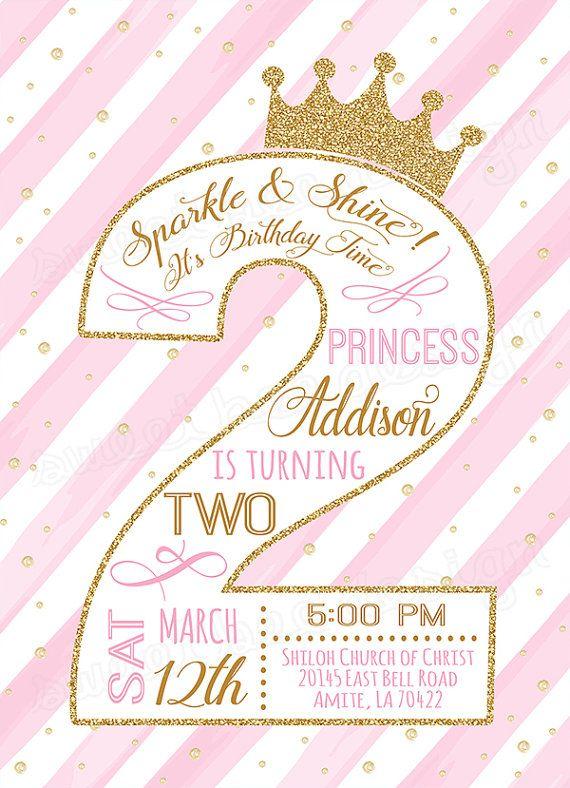 second princess birthday invitation    gold glitter