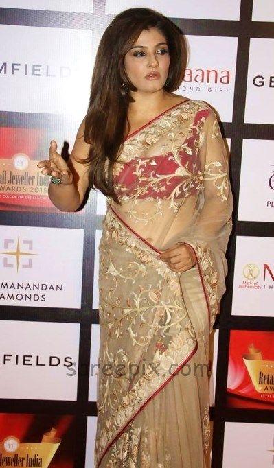 Raveena-tandon-transparent-saree-Retail-jewellery-awards-2015