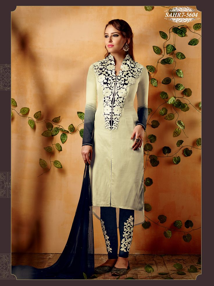 Shonaya Beige Colour Chiffon Embroidery Semi Stitched salwar Suit
