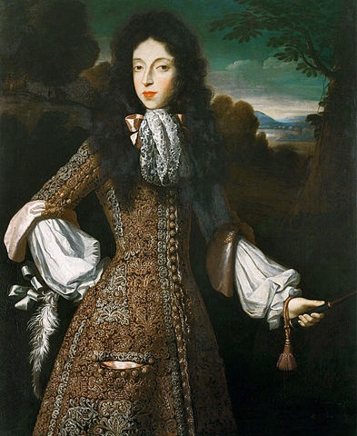 thestuartkings:    Mary of Modena  By Simon Verelst  One of the 17th Century fashion trends saw aristocratic women embracing male figure-hugging hunting costumes. This was a self-aware sexualised piece of cross-dressing, which James, Duke of York, 'particularly admired' when adopted by his much younger second wife, Mary of Modena.