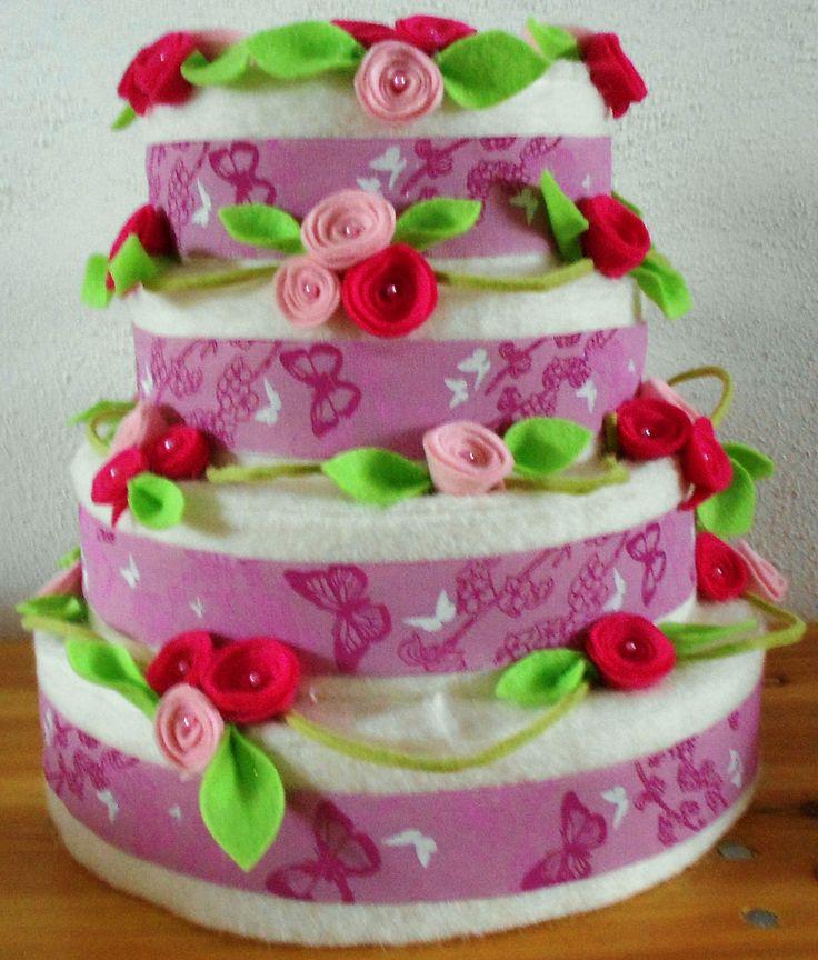 Piepschuim taart bekleed met vilt
