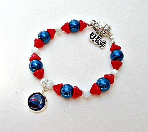 NFL New England Patriots Football Bracelet by SportsJewelryStudio on Etsy.  etsy.com/shop/sportsjewelrystudio