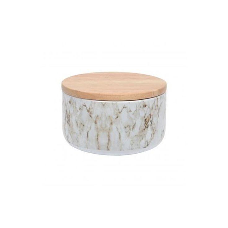 Boîte Effet Marbre Blanc Couvercle Bois D14cm Ambari – Taille : Taille Unique