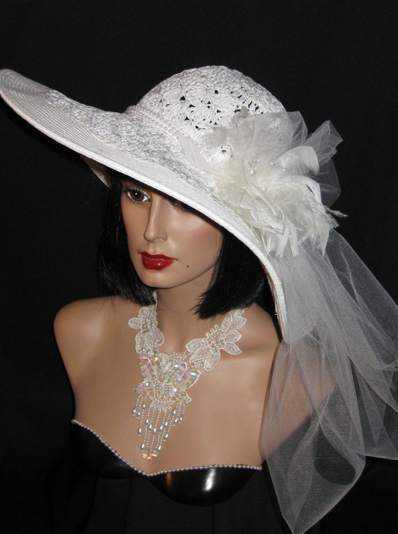 Chic Wide Brim Ivory Hat With Lacey Weave, Pearls ...