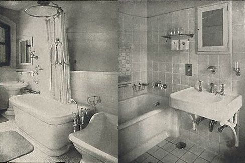 1900s bathroom | The bathroom on the right features square tiles on the floor and walls ...