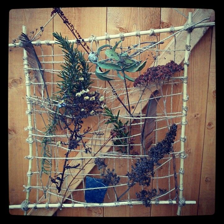 Allotment Art - made with 4 sticks for the frame and garden twine.