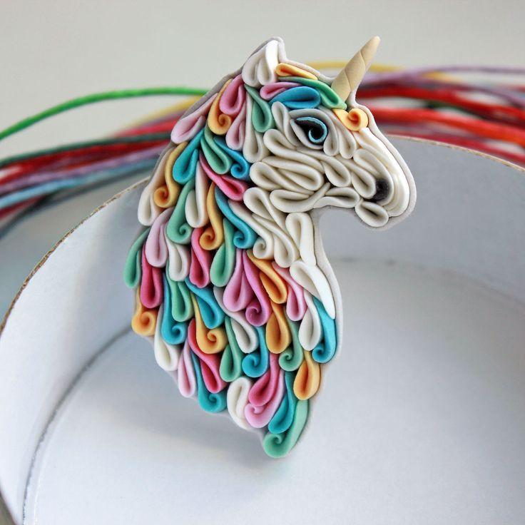 Polymer clay brooch Unicorn | Купить Брошь Единорог из полимерной глины - комбинированный, розовый, бирюзовый, желтый, белый, серый, единорог