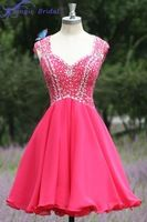 Vestido De Formatura Real V Cuello y Espalda Abierta Cristales Gasa color de Rosa Caliente Vestidos de Fiesta Cortos Vestidos De…