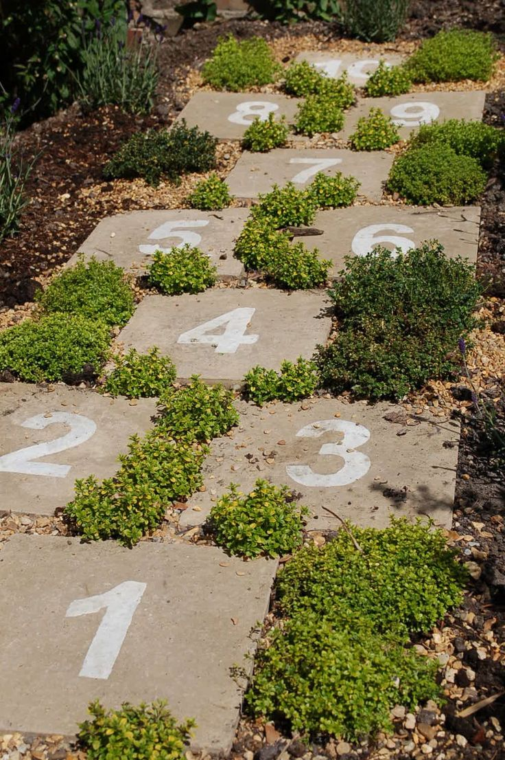 Hopscotch garden path ... cute idea for getting children active outdoors. More ideas for gardening with kids @ http://themicrogardener.com/category/gardens-projects-for-kids/ | The Micro Gardener