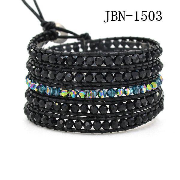 2016 новое поступление мужские ювелирные изделия браслет обруча 4 мм желтый кристалл бусины размахивая кожаные браслеты украшения ручной работы браслет JBN 1507купить в магазине Jubao ni jewelryнаAliExpress