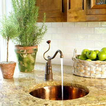 Fresh Farmhouse Style  Seen In BHG# Kitchen Prep Area With Herbeau Moselle  Copper Sink