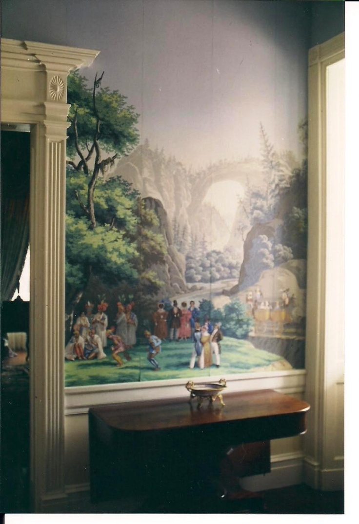"Hall Monmouth, Natchez, Mississippi -- Zuber scenic wallpaper ""Scenes of America"""
