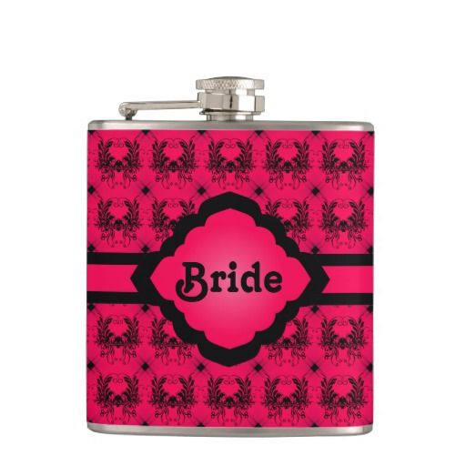 """Bride Pink Damask Flask - This design is black and pink, the damask is black with a hot pink background with a ribbon and monogram frame in the middle with """"Bride"""" written in the middle. The perfect wedding gift for a bride! http://www.zazzle.com.au/bride_pink_damask_flask-256167984511078543?rf=238523064604734277"""