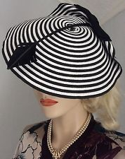VINTAGE BLACK & WHITE STRIPE FASCINATOR SAUCER TILT HAT 40s 50s RE-ENACTMENT