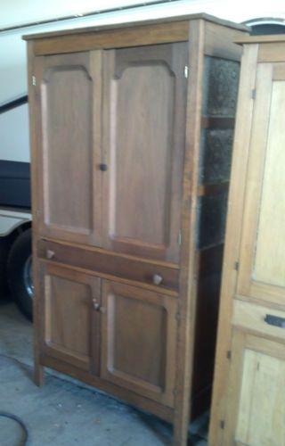 Large Antique Primitive Cabinet / Pie Safe Hutch Punched Tin