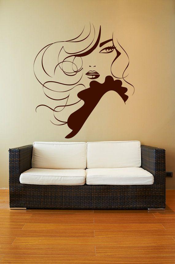Elegant Lady Wavy Hair Ruffles Removable Wall Art by Signs4Half, $35.00