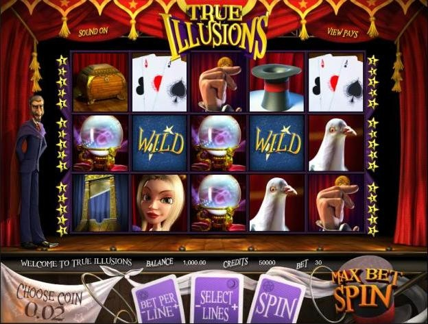 Play the 3D video slots game True Illusions for free at 1OnlineCasino.com