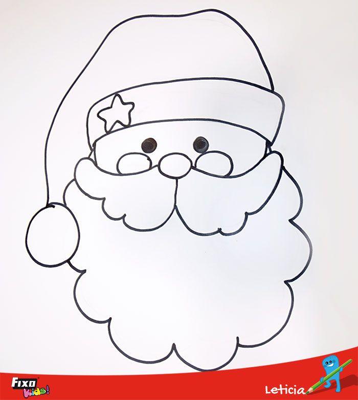 Dibujo Con La Cara De Papa Noel Para Hacer Con Ninos Papa Noel Dibujo Cara De Papa Noel Papa Noel Navideno