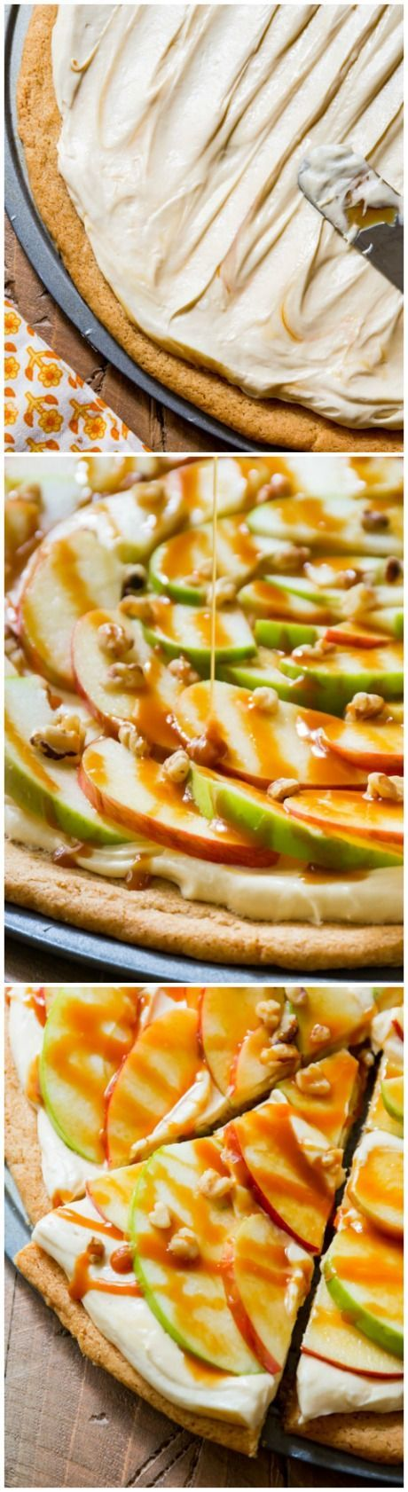 You won't believe how AMAZING this dessert pizza is! Caramel, cream cheese frosting, snickerdoodle cookie crust, and crunchy apples!