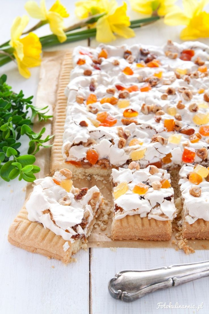 Dried Fruits, Nuts Meringue and Apricot Jam Shortbread, called Mazurek - traditional Polish Easter Cake.
