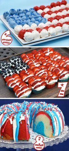 19 Red, White,  Blue Party Ideas. My sister in law LOVES the fourth of July. Cant't wait to make her some patriotic treats.