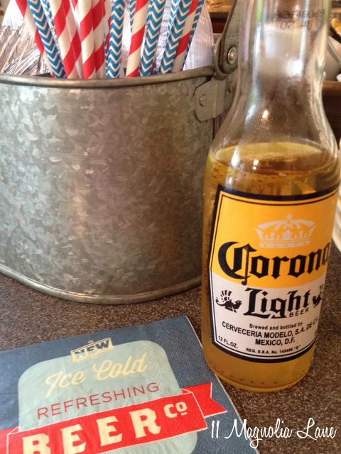 Easy entertaining idea:  celebrate Cinco de Mayo with a taco salad bar and lots of cold cerveza!  Pair several varieties of Mexican beer with fun vintage cocktail napkins and matching paper straws, and stash cutlery in a galvanized utensil caddy (all from HomeGoods).  Fill bowls with fixings (meat, chicken, shredded cheese, fresh jalapenos, tomatoes, green onions, lettuce, sour cream, salsa, black beans, corn chips and/or tortilla chips, and guacamole) and let party guests serve themselves…