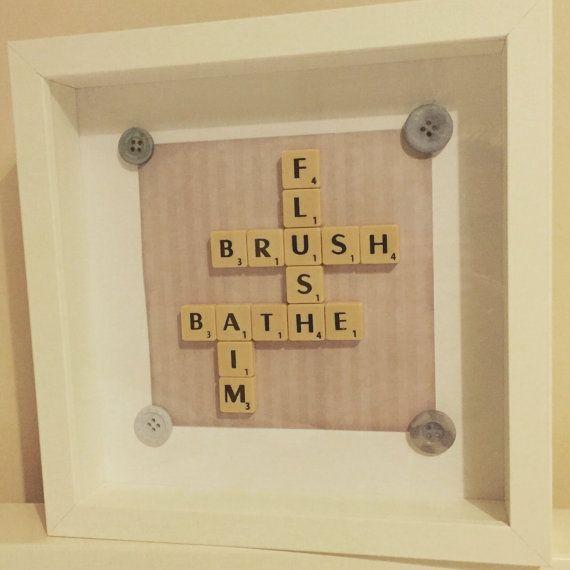 Badezimmer-Scrabble-Kunst-Rahmen. Neues Zuhause von Waystosay