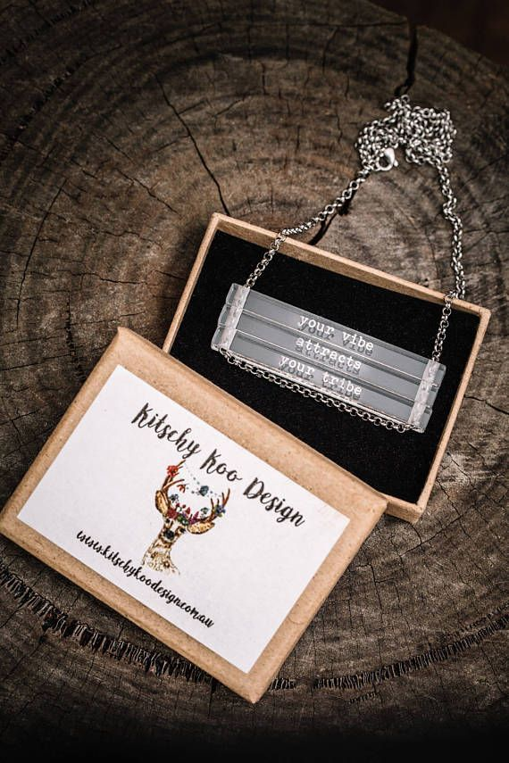 NEW Your Vibe Attracts Your Tribe - clear bar necklace; stainless steel - waterproof - quote jewelry