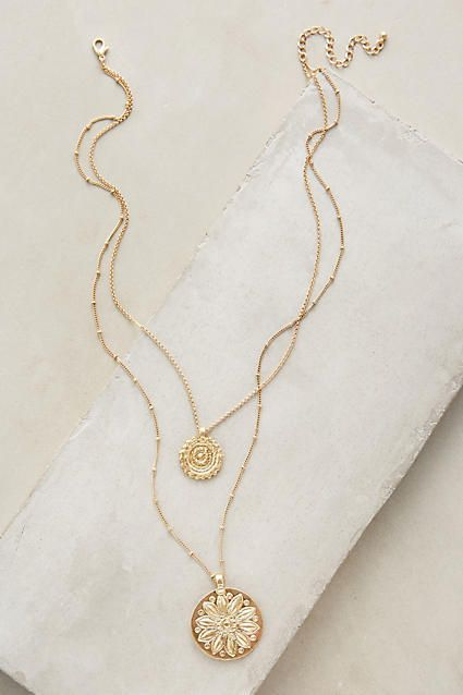 Anthropologie Layered Emblem Necklace