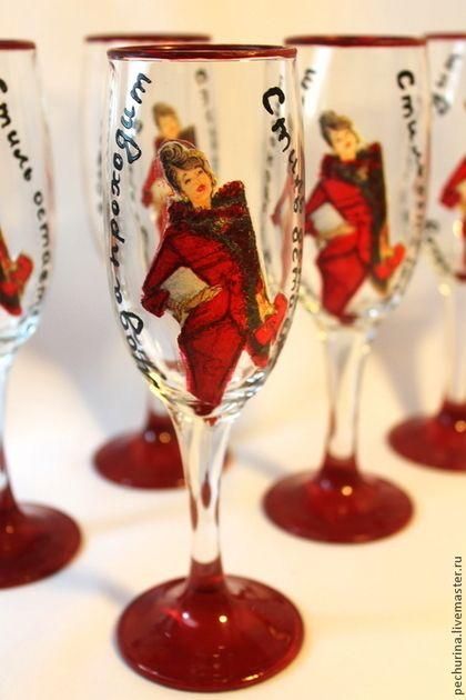 """Набор бокалов """"Коко Шанель"""" - Декупаж,бокалы для шампанского,бокалы ручной работы"""