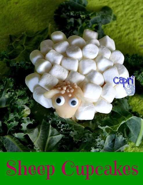 Make these fun sheep cupcakes.  Check out the post for instructions and more ideas on for a Little Bo Peep Found her Sheep Party!  (Capri + 3) #sheep, #sheepcupcake, #BoPeep