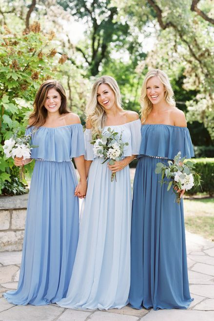 Abigail mix and match Convertible Bridesmaid Dress in Forget Me Not, Love Is In the Air, and Dusty Blue Chiffon