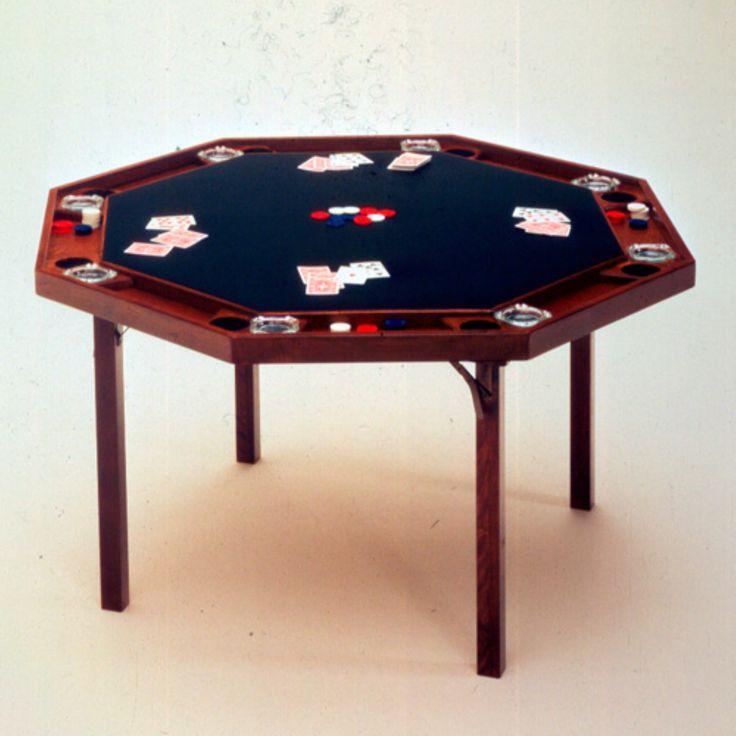 Kestell 83 Contemporary Folding Poker Table - 52 Inch - O-83-V SPANISH OAK/BLACK VINYL