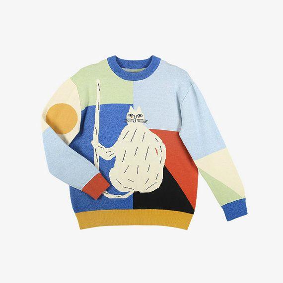 Para el gato persona colección color fusion gato blanco chic suéter
