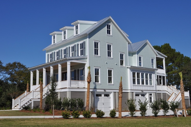 House sherwin williams rainwashed sw 6211 shutter color is for Beach style house exterior