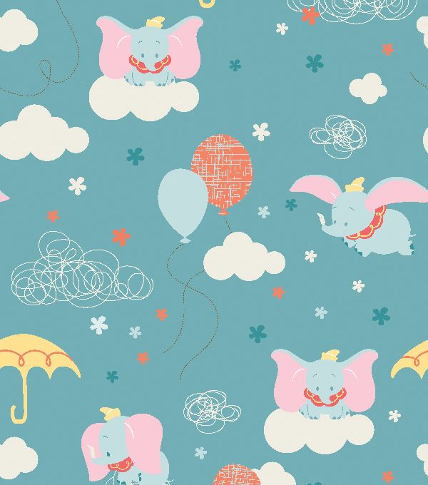 Disney Dumbo Clouds Flannel Fabric Disney Flannels And