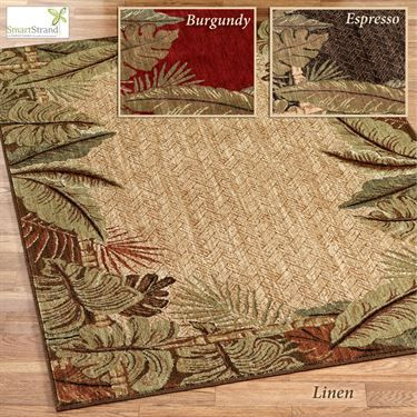 Pet Friendly Sarasota Tropical Leaf Area Rugs