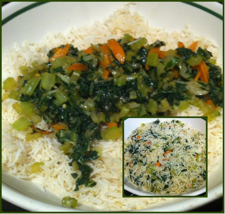 Basmati rice combined with cooked spinach, carrots & celery!