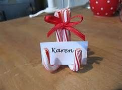 Candy cane place setting for a North Pole breakfast