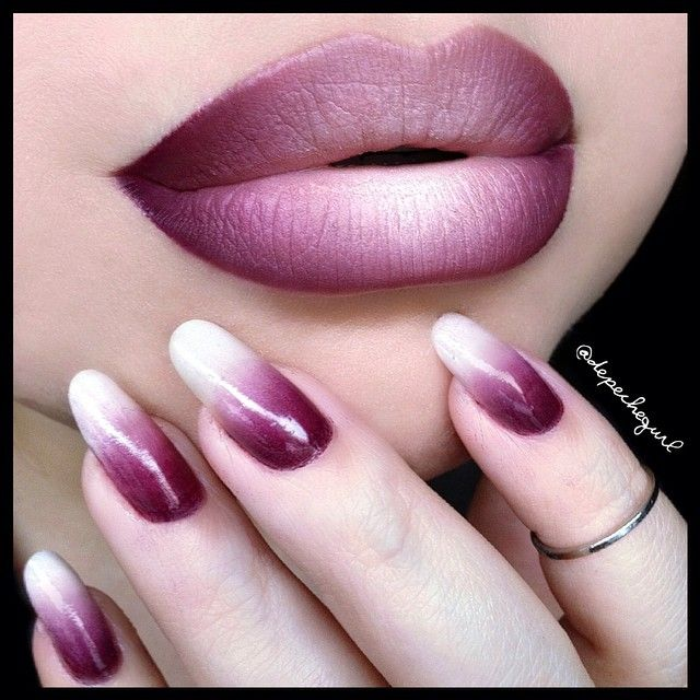"""Ombre! Nails - O•P•I """"Sleigh Parking Only"""" Nails Inc. """"Porchester Square"""" & a white base. Lips - @thekatvond """"Agatha"""" Lipstick, MAC """"Currant"""" & """"Plum"""" Lip Liners, & @nyxcosmetics """"Milk"""" Jumbo Pencil."""