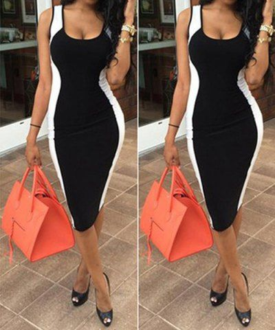 Sexy U-Neck Sleeveless Color Block Bodycon Women's Dress Bodycon Dresses | RoseGal.com Mobile